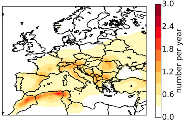 Annual number of 6-hourly periods with hail of 2 cm or larger in Europe (1979 - 2016), modelled using AR-CHaMo. From: Rädler et al, 2018.