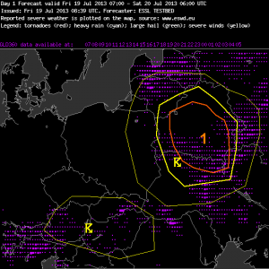 Fig. 4b: Verification of the day 1 forecast issued on Fri 19 July 2013.