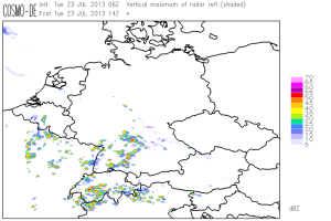 Fig. 6: COSMO-DE forecast for 14 UTC Tue 23 July 2013: simulated radat reflectivity according to the deterministic run.