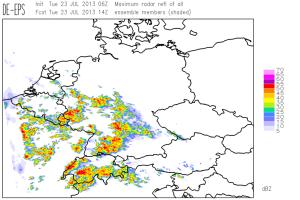 Fig. 3: COSMO-DE forecast for 14 UTC Tue 23 July 2013: maximum simulated radar reflectivity of all EPS runs.