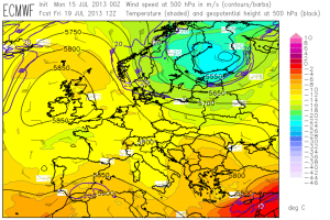 Fig 1: ECMWF forecasts of 500 hPa geopotential (black contours), temperature (color shades) and wind (barbs) for the week from Mon 15 July 2013 to Fri 19 July 2013 (12 UTC each day).
