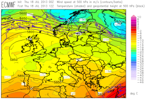 Fig. 1: ECMWF forecast of 500 hPa geopotential (black contour lines), temperatur (color shading) and wind (barbs) for 12 UTC Thu 18 July 2013.