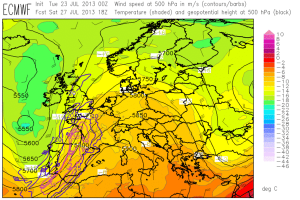 Fig. 2a: Today's ECMWF forecast of 500 hPa geopotential (black contours), temperature (clolor shades) and wind (barbs) for 18 UTC Sat 27 July 2013.
