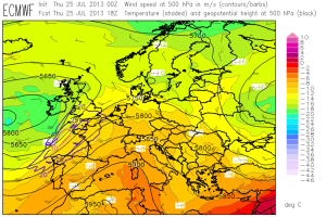 Fig. 2: ECMWF forecast for 500 hPa geopotential (black contour lines), temperature (color shading) and wind (barbs) for 18 UTC Thu 25 July 2013.