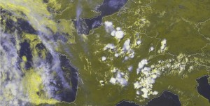Fig. 3a: E-View satellite image at 1330 UTC Mon 22 July 2013.
