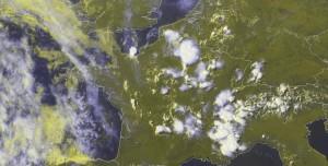 Fig. 3b: E-View satellite image at 1430 UTC Mon 22 July 2013.